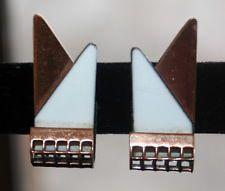 Renoir Matisse Copper Enamel Art Deco Clip Earrings