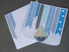 carte pour la naissance d'un petit garçon thème bateau, en bleu et blanc sur chezlesZ.fr