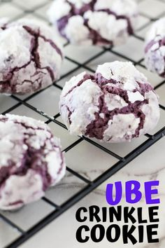 Crinkle cookies with an island twist. . .UBE. Soft, buttery, fluffy cookies packed with delicious ube flavor. Perfect for all you soft cookie lovers. Crinkle Cookies Cake Mix, Brownie Mix Cookies, Easy Chocolate Chip Cookies, Chocolate Chips, Cookie Recipes, Ube Recipes, Dessert Recipes, Snacks Recipes, Dessert Ideas