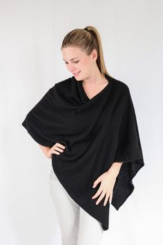 Black 100% Cashmere Poncho on sale in South Africa – Pebble&Jack