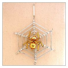 """Gold and Silver Glass Bead Spider Web Ornament ~ 3"""" ~ Czech Republic"""