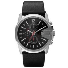 Diesel dz4182 black dial& leather chronograph quartz men watch.  This Fashion & Casual diesel watch DZ4182 stainless-steel case is polished on the sides for max shine and has a black dial with bright pops of red and white.