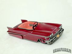 1958 Cadillac Pedal Car - Piranas Way - Lowrider Magazine Lowrider Toys, Miniature Cars, Bike Pedals, Red Wagon, Kids Ride On, Pedal Cars, Toy Trucks, Small Cars, Go Kart
