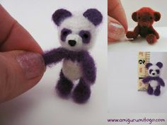 Miniature Purple Panda Crochet Thread Pattern ~ Amigurumi To Go