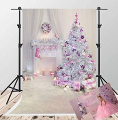 Christmas Hat Fairy House Decorated Photography Christmas Trees Fireplace Gifts  Studio Background for Children Holiday Photo Booth Props