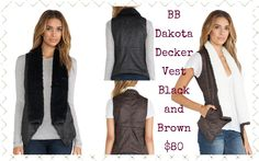 "BB Dakota Faux Fur Decker Vest:  Faux suede open front vest with contrast wubby collar and pointed hem. Fully lined. 30"" length.  Shell: 100% Polyester Lining: 100% Polyester Trim: 100% Polyester   Black available in XS-L  Espresso available XS-L"
