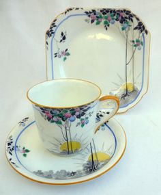 STUNNING ART DECO SHELLEY TALL TREES & SUN RISE ENGLISH CHINA TRIO - PATT 11620 | eBay