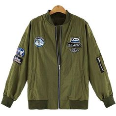 Yoins Plus Size Army Green Patch Bomber Jacket (280 SEK) ❤ liked on Polyvore featuring outerwear, jackets, green, zip jacket, green camo jacket, zipper jacket, olive jacket e patch jacket