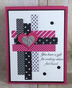 Card Making Wow! the Pop of Pink specialty designer series paper and a special technique make this card sooooo stinkin cute! I love it! Washi Tape Cards, Cricut Cards, Stamping Up Cards, Card Sketches, Love Cards, Valentine Day Cards, Paper Cards, Creative Cards, Homemade Cards