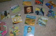 discovering van Gogh; book called You Are My Work of Art and a Van Gogh calendar plus painting activity with texture