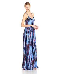 Parker Women's Miles Silk Twist Back Maxi Dress, Riviera Streak
