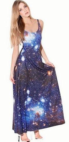 edacc20c5b Blue White Orange Galaxy Celestial Sleeveless Scoop Neck Maxi Dress Galaxy  Print, Long Dresses,