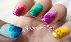 Glitter Tips: Rainbow Glitter Skittle