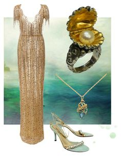 """""""Full Fathom Five"""" by rurustarr ❤ liked on Polyvore featuring Marchesa, Russell Lownsbrough, Black & Sigi, Dolce&Gabbana, ocean, pearl, mermaid, seafoam and Drowned"""