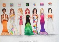 Image about art in Zeichnung by Nadine on We Heart It Amazing Drawings, Love Drawings, Beautiful Drawings, Amazing Art, Drawings Of Dresses, Dresses To Draw, Awesome, App Drawings, Art Sketches