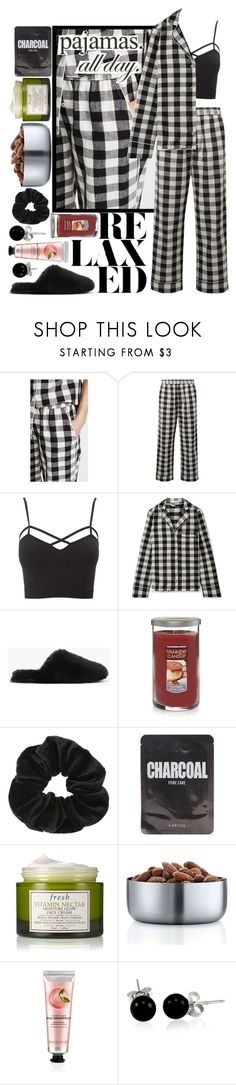 """""""Pajamas All Day"""" by stxgma ❤ liked on Polyvore featuring Skin, Charlotte Russe, J.Crew, Miss Selfridge, Fresh, blomus, The Body Shop, Bling Jewelry, LovelyLoungewear and plus size clothing"""
