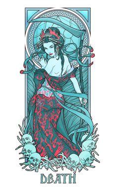 Dragon Enchantress lines by deviantAshtareth on DeviantArt Alphonse Mucha, Art Nouveau Illustration, Art Carte, Horsemen Of The Apocalypse, Art Nouveau Design, Anime Comics, Dark Art, Art Inspo, Vintage Art