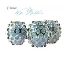 Glass lampwork beads Nyx Bubble Barrel Trio