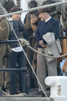 Harry Styles, Cillian Murphy and Mark Rylance on the set of Dunkirk in the UK - 28 July