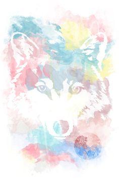 RAD Watercolor Wolf Art Print