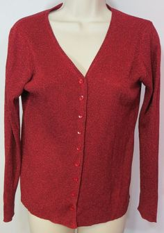 """PETITE SOPHISTICATE"" RED SPARKLY SILK BUTTON FRONT SWEATER - SEE ALL PICTURES #PETITESOPHISTICATE #Cardigan"