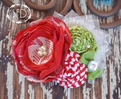 Christmas Hair Accessory  Red Green White by SweetFaithDesigns, $14.50