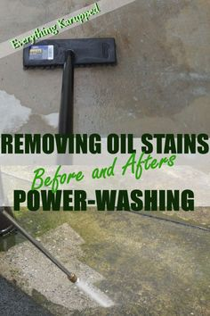 power-washing and removing oil stains from concrete. before+afters, product tests Concrete Yard, Concrete Driveways, Concrete Projects, Grease Stains, Oil Stains, Remove Oil From Concrete, Concrete Cleaner, Home Maintenance Schedule, Painting Concrete
