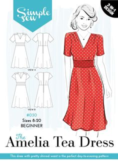 #030BEGINNERUK SIZES 8-20 This easy-to-make dress is the perfect day-to-evening pattern with a choice of two lengths of fluttery sleeve. The shirred waist panel