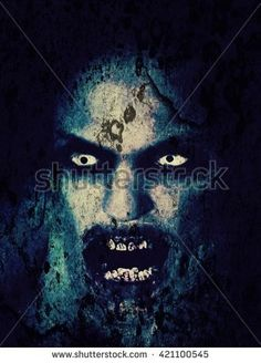 Digital illustration of zombie. Close-up portrait of a horrible scary zombie man. Horror. - stock photo