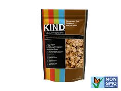 KIND Healthy Grains Cinnamon Oat Clusters with Flax Seeds  It's not easy to find a tasty gluten-free granola, but KIND is up to the task, combining the omega-3 power of flax seeds with the fiber of whole grains. Bonus? It's also gluten-free.  Nutrition (1/3 cup): 130 calories, 3 g protein, 22 g carbs, 5 g fiber, 3.5 g fat, 0 g saturated fat, 20 mg sodium, 6 g sugar