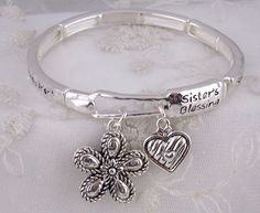 Silver Forever my Sister My Friend Stretch Bracelet Flower Fashion Jewelry NEW #iconcollection #stretch