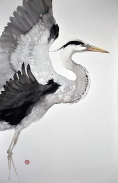 Gray Heron by Karl Martens pinned with Bazaart