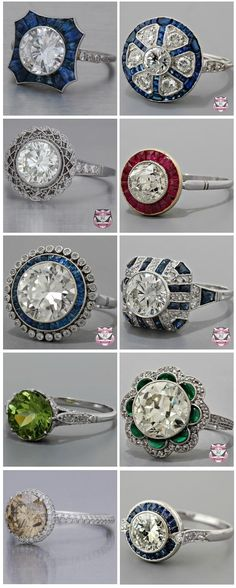 the bottom one on the left. a low color diamond with a minimal halo and two sided micro pave on the shank. stunning. yes please