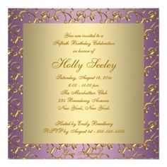70th birthday party invitations wording birthday party invitation elegant purple and gold womans 50th birthday party invitation filmwisefo