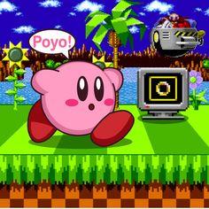 Kirby in Sonic The Hedgehog by Kittykun123.deviantart.com on @DeviantArt