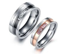 YOU ARE MY ONLY LOVE: Athena Jewelry Titanium Series His & Hers Matching Set 7MM / 5MM Laser Engraved Titanium Couple Wedding Band Set Ring with Cubic...