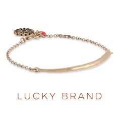 "New Listing Lucky Brand African Sky Bracelet Antiquated gold-tone bracelet accented with a thin hammered bar charm. Lobster clasp closure is accented by an openwork flower charm and small coral clover charm. Measures 1/4"" width &  diameter/length is 7 3/4"" . Charm is 2-1/4"" length & 1/4"" width Lucky Brand Jewelry Bracelets"