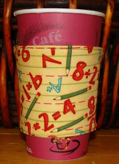 Numbers Reusable Fabric Coffee Cozy by cozycabinmom on Etsy, $4.00