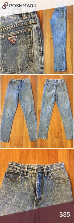 """Vintage Guess Acid Wash Jeans Vintage acid wash high-waisted skinny jeans by Guess Size Marked: 28 Modern Size BEST FIT: 24/00 or 25/0 (check measurements to be sure) Apx. measurements when laying flat: 12"""" across waistband 12.25"""" front rise  29"""" inseam 16.75"""" across bottom of back pockets Condition: excellent vintage with no stains or holes  🎉Check out my closet for other vintage denim in a VARIETY of sizes. Price is firm so bundle for a discount!! Guess by Marciano Jeans"""