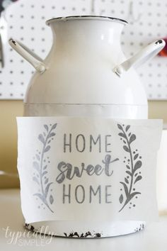 Cricut Project Inspiration: Using Vinyl - Typically Simple - - Use your Cricut Explore Air to personalize projects with vinyl - a simple way to update a home decor piece! Cricut Projects To Sell, Diy Vinyl Projects, Cricut Tutorials, Vinyl Crafts, Cricut Project Ideas, Cricut Ideas, Cricut Projects Christmas, Project Projects, Spring Projects