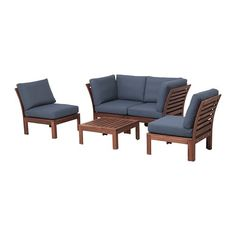 IKEA ÄPPLARÖ 4-seat conversation set, outdoor Brown stained/frösön/duvholmen blue By combining different seating sections you can create a sofa in a shape and size that perfectly suits your outdoor space.