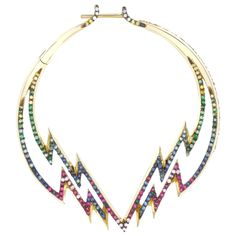 Venyx Electra hoop earrings - gold, yellow diamond, ruby, pink and blue sapphires and tsavorites