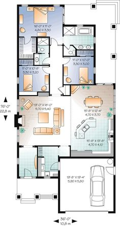 First Floor Plan of Craftsman   House Plan 76293