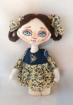 Miniature fabric doll art cloth doll textile doll small dolly tiny doll Heidi Doll Tiny Dolls, Fabric Dolls, Miniature Dolls, Gifts For Girls, Doll Clothes, Cotton Fabric, Miniatures, Textiles, Handmade