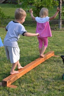 Backyard Balance Beam (just DIY w/ a 4x4 and some scrap pieces of wood) - somehow make it Winnie the Pooh themed: -Hundred Acre Beam -Race to Pooh Corner -Etc.