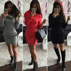 Phụ Nữ mới Hoodies Dài Hoodie Dress Dài Tay Áo Áo Pluse Kích Thước Sexy O-Cổ Hoody Áo Nỉ Hip Hop Winter Phụ Nữ Dresses
