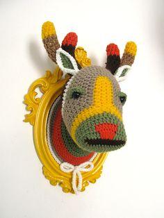 Crochet color block deer head in a bright yellow by ManafkaMina