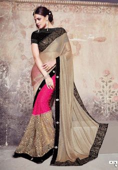DESIGNER PINK AND BROWN COLOUR PARTY WEAR AND WEDDING WEAR SAREE-58340