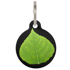Green Aspen Leaf #11 Pet ID Tag - spring gifts beautiful diy spring time new year
