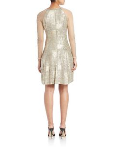 Brands | Dresses | Metallic Fit-and-Flare Dress | Lord and Taylor